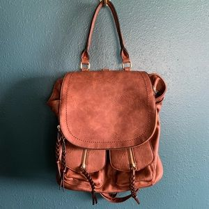 Cognac Brown Faux Leather Backpack Bag Large